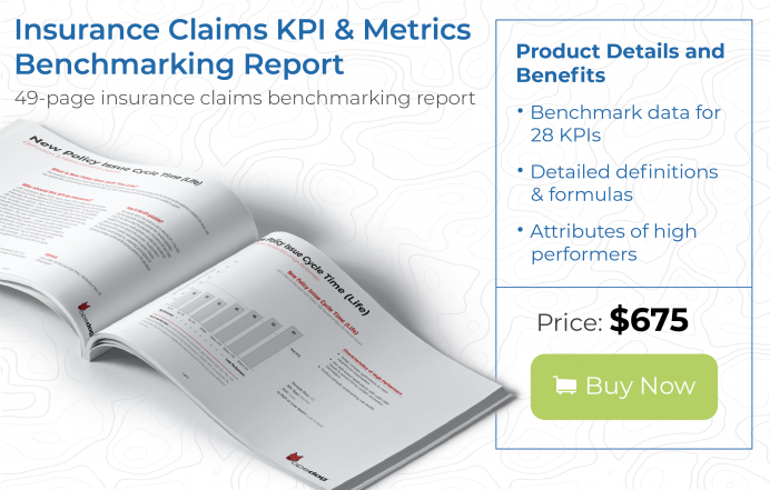 In-depth insurance claims benchmarking report with data on over 25 KPIs and metrics
